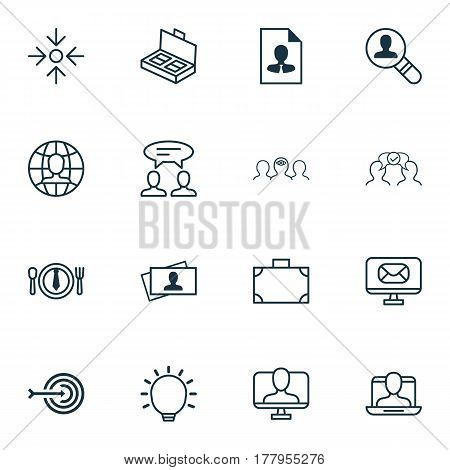 Set Of 16 Business Management Icons. Includes Dialogue, Email, Portfolio And Other Symbols. Beautiful Design Elements.