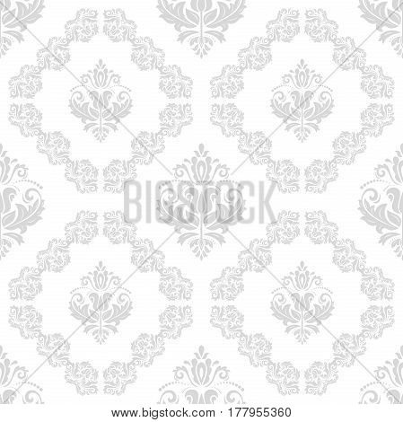 Seamless baroque silver pattern. Traditional classic orient ornament