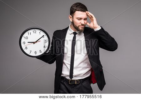 Handsome Business Man With Clock In Hand, Sad Beasy With Time,