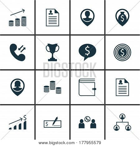 Set Of 16 Management Icons. Includes Wallet, Tree Structure, Coins Growth And Other Symbols. Beautiful Design Elements.