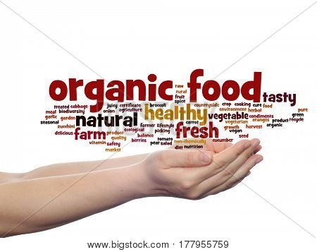Concept or conceptual organic food healthy bio vegetables abstract word cloud in hand isolated on background