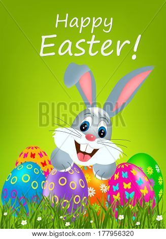 Easter greeting card with colorful eggs and bunny.