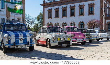 MALAGA, SPAIN - FEBRUARY 28, 2017: Retro Málaga IV. A Seat 600 row car in the International outdoor exhibition of classic vintage cars.