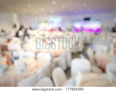 Abstract Blurred Image Of Large Dining Table Set For Party, Dinner Or Festival Event With Beautiful