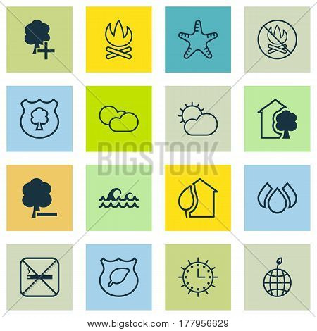 Set Of 16 Eco-Friendly Icons. Includes Guard Tree, House, Fire Banned And Other Symbols. Beautiful Design Elements.