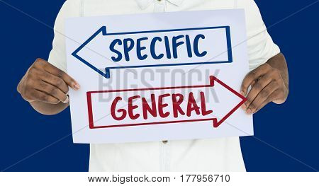 Specific General Arrow Chioce Decision Word
