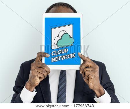 Data computing cloud icon graphic