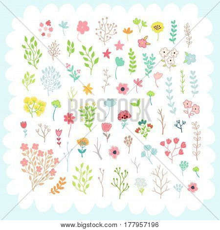 Doodles cute elements, spring theme. Color vector items collection. Illustration with leaves and flowers. Design for prints and cards.