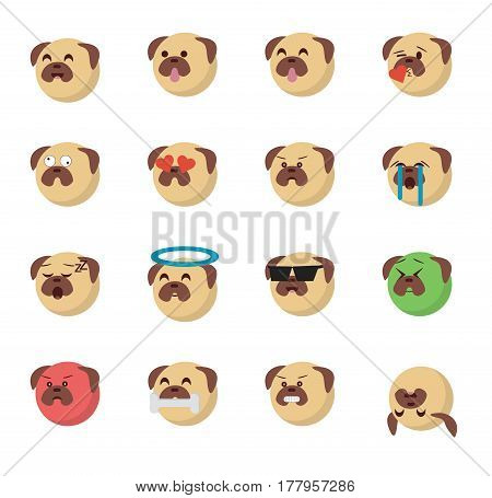 Set of  dog emoticon vector isolated on white background. Emoji vector. Smile icon set. Emoticon icon web.