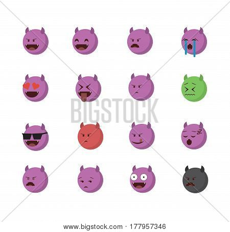 Set of devil emoticon vector isolated on white background. Emoji vector. Smile icon set. Emoticon icon web.