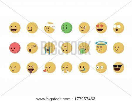 Set of  cartoon emoticon vector isolated on white background. Emoji vector. Smile icon set. Emoticon icon web.