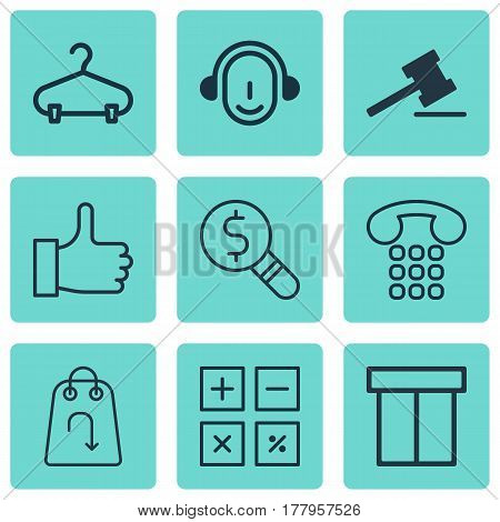 Set Of 9 Ecommerce Icons. Includes Peg, Gavel, Callcentre And Other Symbols. Beautiful Design Elements.