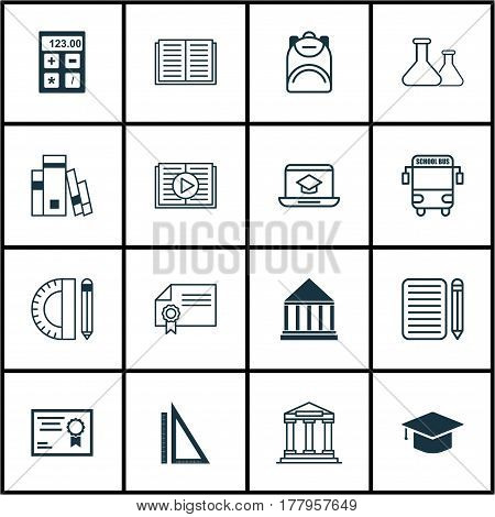 Set Of 16 Education Icons. Includes Chemical, Transport Vehicle, Electronic Tool And Other Symbols. Beautiful Design Elements.