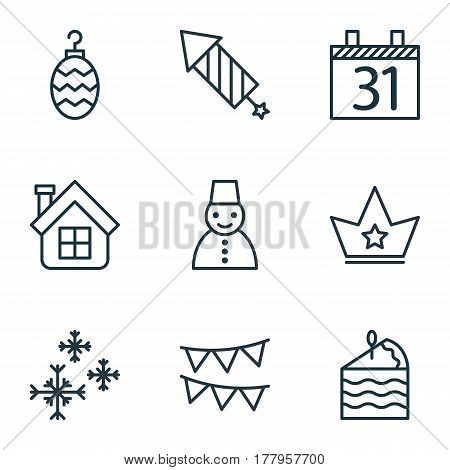 Set Of 9 Happy New Year Icons. Includes Snow Person, Residential, Decorative Flags And Other Symbols. Beautiful Design Elements.