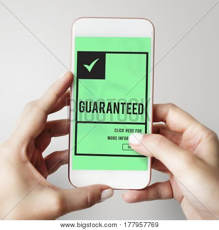 hands searching guaranteed premium and exclusive product on mobile phone