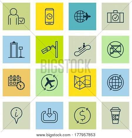 Set Of 16 Traveling Icons. Includes Call Duration, Video Surveillance, World And Other Symbols. Beautiful Design Elements.