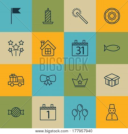 Set Of 16 Christmas Icons. Includes Date, Doughnut, Fishing And Other Symbols. Beautiful Design Elements.