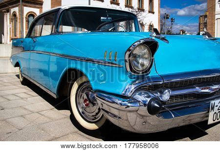 MALAGA, SPAIN - FEBRUARY 28, 2017: Retro Málaga IV. A Chevrolet bel air muscle car in the International outdoor exhibition of classic vintage cars.