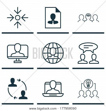 Set Of 9 Business Management Icons. Includes Dialogue, Cooperation, Global Work And Other Symbols. Beautiful Design Elements.