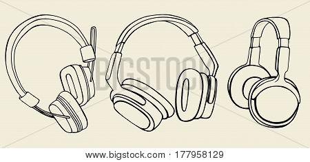 set of headphones, doodle style, sketch illustration