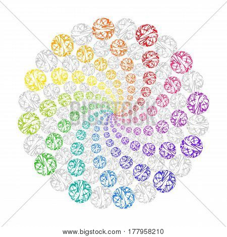 Rainbow Circular Decorative Ornament on White Background. Stylized Mandala from Colored Lace Circles.