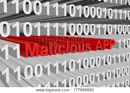 Malicious APP is presented in the form of binary code 3d illustration