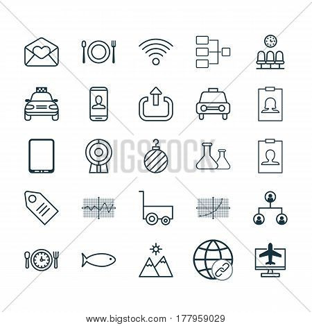 Set Of 25 Universal Editable Icons. Can Be Used For Web, Mobile And App Design. Includes Elements Such As Taxi, System Structure, Line Grid And More.