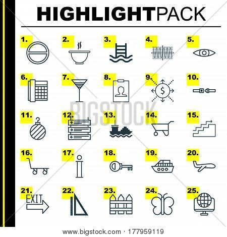 Set Of 25 Universal Editable Icons. Can Be Used For Web, Mobile And App Design. Includes Elements Such As Growth, Information, Cargo Cart And More.