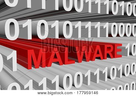 MALWARE in the form of binary code, 3D illustration