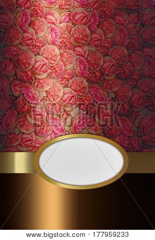 background with pink roses and a gold belt with an oval place for text