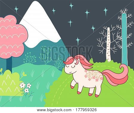 Doodles cute card, spring theme. Color vector scene. Illustration with pony and mountain, trees and flowers. Design for prints.