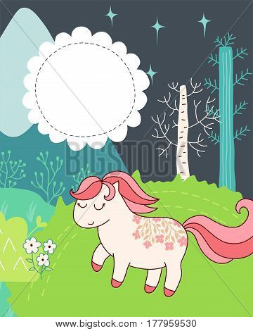 Doodles cute card, spring theme. Color vector poster with text bubble. Illustration with pony, trees and flowers, mountain and grass. Design for prints.
