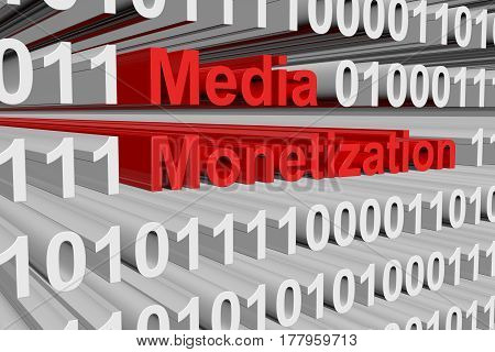 Media Monetization presented in the form of binary code 3d illustration