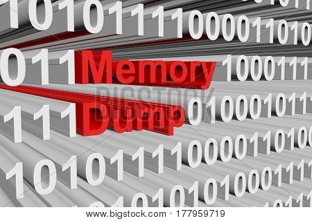 Memory Dump is presented in the form of binary code 3d illustration