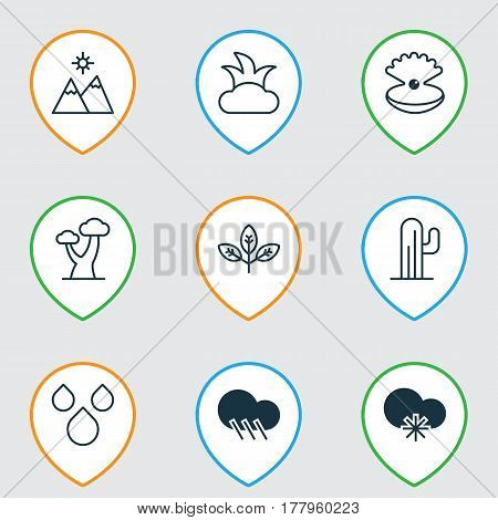 Set Of 9 Nature Icons. Includes Bush, Sprout, Raindrop And Other Symbols. Beautiful Design Elements.