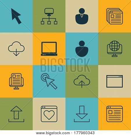 Set Of 16 Web Icons. Includes Local Connection, Followed Website, Human And Other Symbols. Beautiful Design Elements.