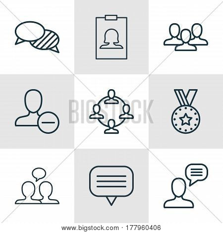 Set Of 9 Communication Icons. Includes Badge, Talking Person, Team And Other Symbols. Beautiful Design Elements.
