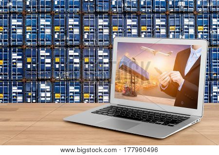 Laptop showing business shipping and internet of things technology concept for Global business connection to customer for worldwide container cargo shipping with logistic concept background