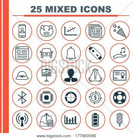 Set Of 25 Universal Editable Icons. Can Be Used For Web, Mobile And App Design. Includes Elements Such As Wireless Connection, Woman Cap, Privacy Information And More.