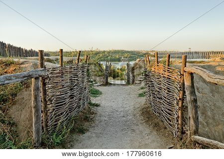 Cossack fortification on the territory of Zaporizhzhya Sich Ukraine poster