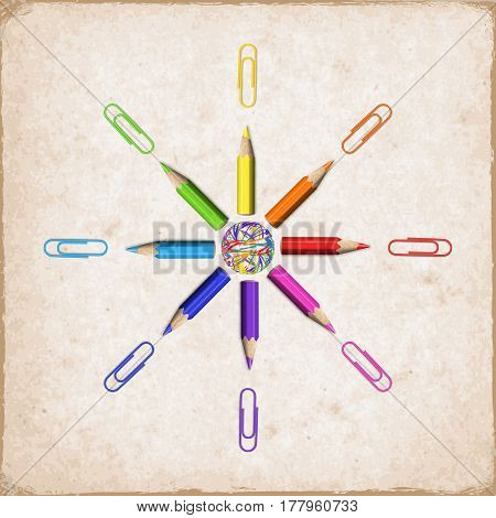 Octagonal Star of Realistic Colorful Pencils and Paperclips on Paper Background. Decorative Funny Design Element Sun of Colored Short Pencils.