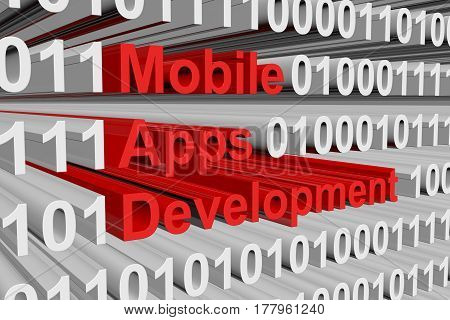 mobile apps development is presented in the form of binary code 3d illustration