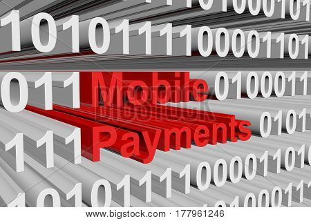 mobile payments are presented in the form of binary code 3d illustration