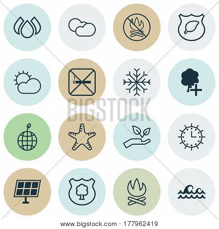 Set Of 16 Ecology Icons. Includes Cigarette, Insert Woods, Snow And Other Symbols. Beautiful Design Elements.