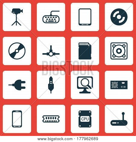 Set Of 16 Computer Hardware Icons. Includes Connector, Cellphone, Camcorder And Other Symbols. Beautiful Design Elements.