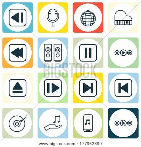 Set Of 16 Music Icons. Includes Dance Club, Rewind Back, Song UI And Other Symbols. Beautiful Design Elements.