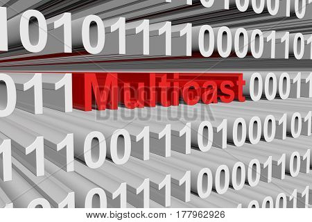 Multicast is presented in the form of binary code 3d illustration