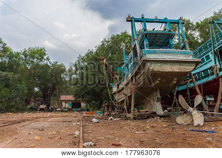 Old Wooden Fishing Boat In Dry Dock,