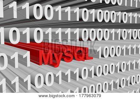 MySQL the binary code background 3D illustration