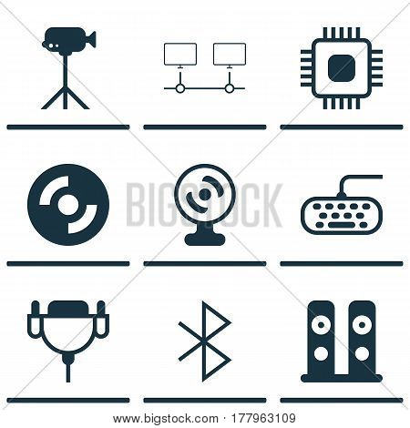 Set Of 9 Computer Hardware Icons. Includes Chip, Computer Keypad, Wireless Connection And Other Symbols. Beautiful Design Elements.
